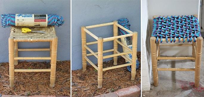 recyclage corde donnez une seconde chance un vieux tabouret. Black Bedroom Furniture Sets. Home Design Ideas