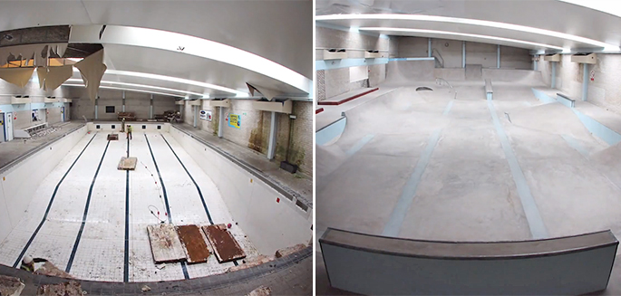 Bristol une piscine abandonn e transform e en skatepark for Transformer une piscine
