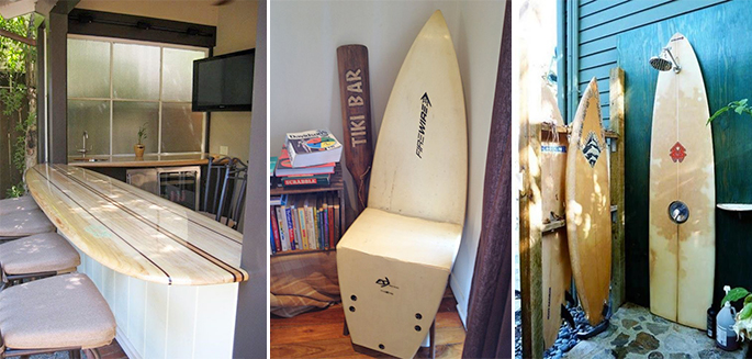 20 fa ons de recycler sa planche de surf. Black Bedroom Furniture Sets. Home Design Ideas