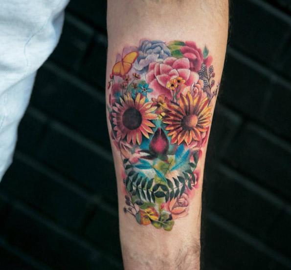 floral-skull-tattoo