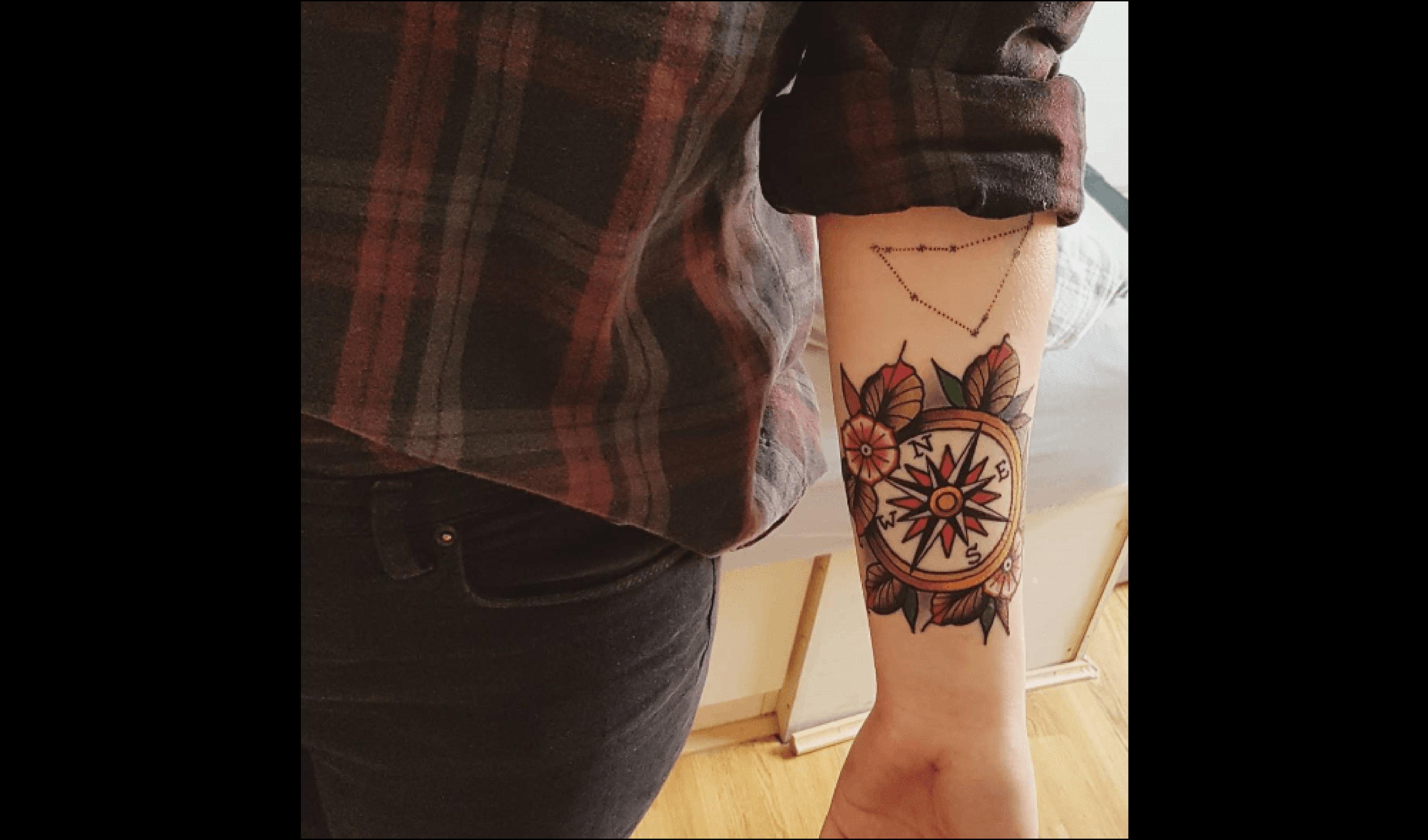 Top 50 des plus beaux tatouages de boussole - Tatouage avant bras homme old school ...
